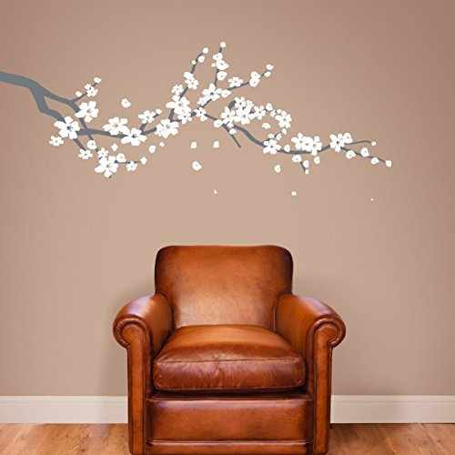 Large Japanese Cherry Blossom Tree Branch Vinyl Decal Wall Sticker for Girls Flowery Room Decor (Grey & White, 19x48 inches)