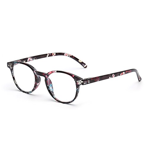 Anti Blue Light Retro Spring Hinge Round Computer Reading Glasses Gaming Readers Reduce Eye Fatigue +1.25 Balck Flower
