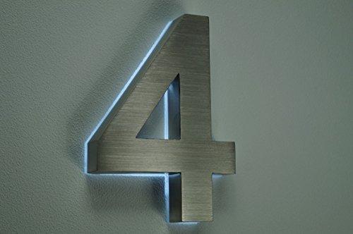 HAUSNUMMER EDELSTAHL (4 LED weiß) H18cm/180mm / Arial in 3D / ohne ...