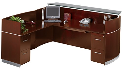 Safco Products Mayline Napoli Series Reception Station (W/2-F/F), Sierra Cherry Veneer/Frosted Glass