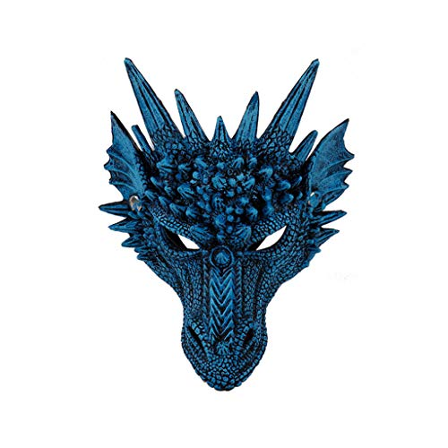 Halloween Dragon Mask, RDTIAN Halloween Cosplay Scary Mask Costume for Adults Party Decoration Props Creepy (Blue)]()