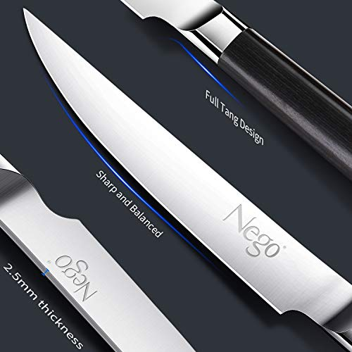Steak Knives - 6Piece Steak Knife Set, 4.5 Inch Edge Blade Pointed Tip Table Knife German HC Stainless Steel Razor Sharpness Rust Protection Lightweight Neatly Slicing Classic Kitchen Cutlery by Nego (Image #4)