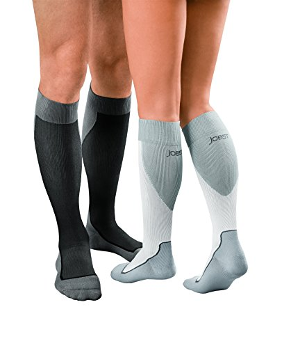 New Jobst Sport Moderate Compression Knee High Socks 15-20 mmHg White with Grey (Medium)