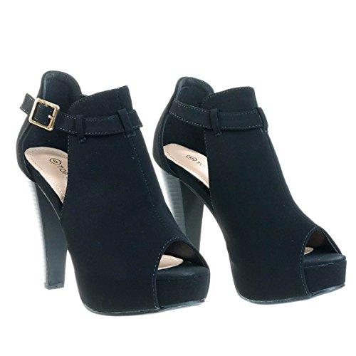 Stacked Block Heel Ankle Boots w Peep Toe Side Cutout & Hidden Platform