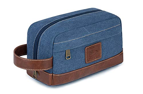 Toiletry Bag Travel Canvas Mens Leather Makeup Bag Organizer Cosmetic Bag Mens Shaving Bag Dopp Kits Blue