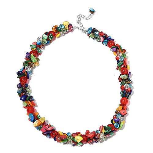 Shop LC Delivering Joy Multi Color Shell Cubic Zirconia CZ Bead Strand Necklace Gift Jewelry for Women -