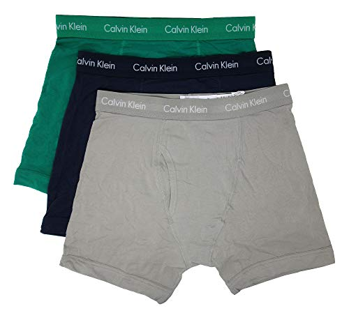 Calvin Klein Men's Cotton Stretch 3 Pack Boxer Briefs (Ghost Grey/Tourney/Mood Indigo, Large) Calvin Klein Stretch Boxer Briefs