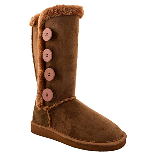 SNJ Womens Button Faux Soft Fur Snow Winter Boot TRENDS SHOES
