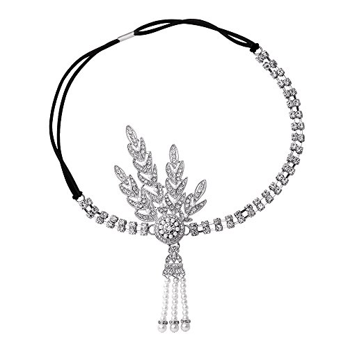 [BABEYOND Art Deco 1920's Flapper Great Gatsby Inspired Leaf Medallion Pearl Headpiece Headband] (Flappers 1920)