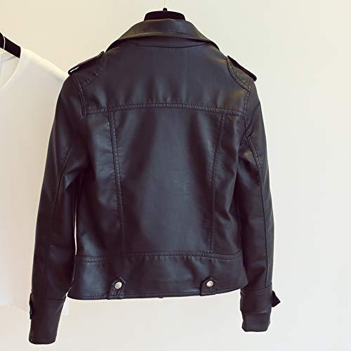 Pelle Abbigliamento Jacket Autunno Motociclista Zipper Donna Black Inverno Moto Cappotto FdpqwxW1B