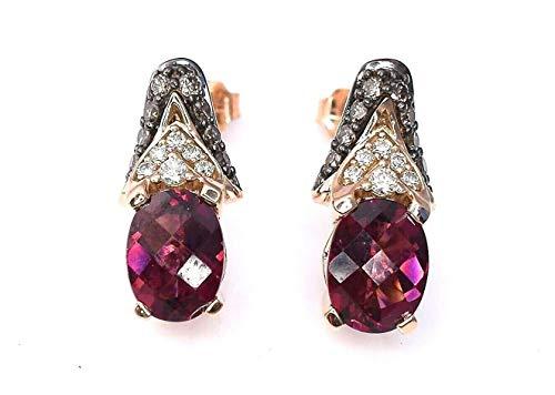 LeVian Garnet Chocolate and Vanilla Diamonds 3 cttw Earrings 14k Solid Rose Gold (Le Vian Chocolate Diamond And Garnet Ring)