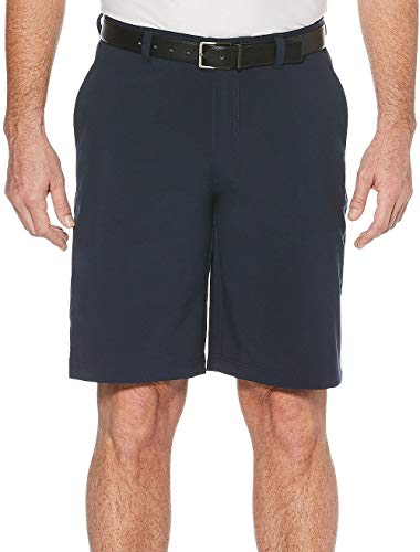 Jack Nicklaus Men's Flat Front Solid Active Flex Short with Media Pocket, Classic Navy, 36