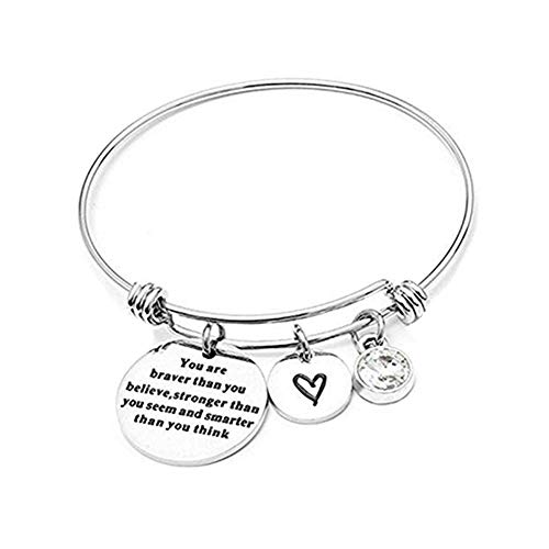 Angel's Draw Home You Are Braver than You Believe Adjustable Bangle Bracelets With 12 Months Color Birthstone for Women Girls Gift (Diamond- April)