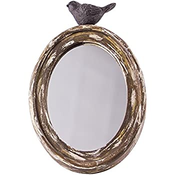"""Rustic Chic Oval Wooden Mirror with a Decorative Finch Nesting on Top - 10"""""""