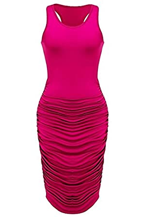 2ade391b67fd Fantasy Star Women Sexy Rose Red Summer Sleeveless Ruched Sundress Fold  Bodycon Midi Tank Dress (