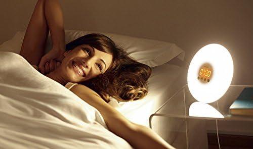 Philips HF3500/01 Despertador mediante, lámpara LED y 10 intensidades de luz, Blanco