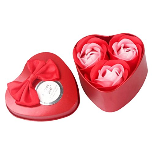 (Vacally 1Set 3Pcs Heart Scented Bath Body Petal Rose Flower Soap Wedding Decoration Gift Valentine's Day/Birthday/Mother's Day present (Red))