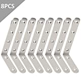 Shelf Bracket, STARVAST 8 Pcs Wall Support Corner Bracket Stainless Steel L Shape Right Angle Bracket 125mm x 75mm x 20mm Corner Bracket Brace with 24 Pcs Screws and 8 Pcs Anchors (Sliver)