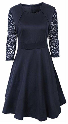 Lace Crochet Womens Vintage Swing Sleeve Black Dress Long Jaycargogo SxU16qnIx