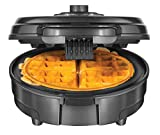 Chefman Anti-Overflow Belgian Waffle Maker w/Shade Selector & Mess Free Moat, Round Waffle-Iron