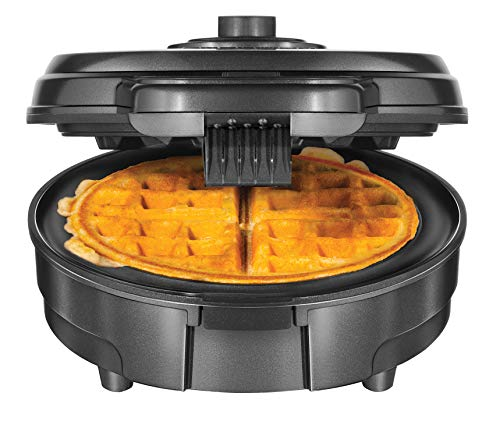 Chefman Anti-Overflow Belgian Maker w/Shade Selector & Mess Free Moat Round Waffle-Iron w/Nonstick Plates & Cool Touch Handle, Measuring Cup Included, Grey