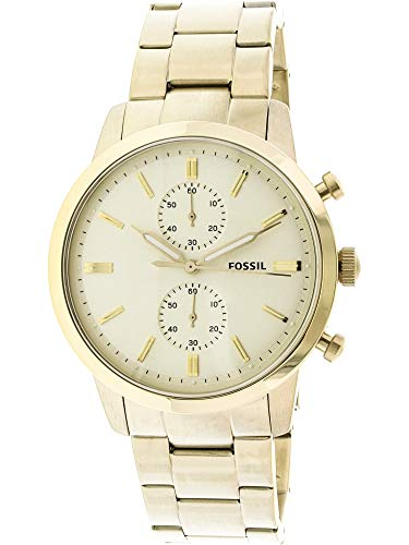 Fossil Men's '44mm Townsman' Quartz Stainless Steel Casual Watch, Color:Gold-Toned (Model: FS5348)