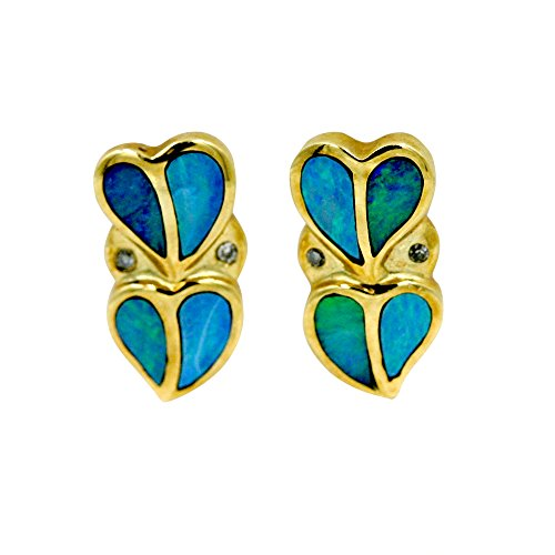 Diamond Tiffany Style Earrings - Opal and Diamond 1/20 ct. Fashion Heart Earrings in 14K Yellow Gold