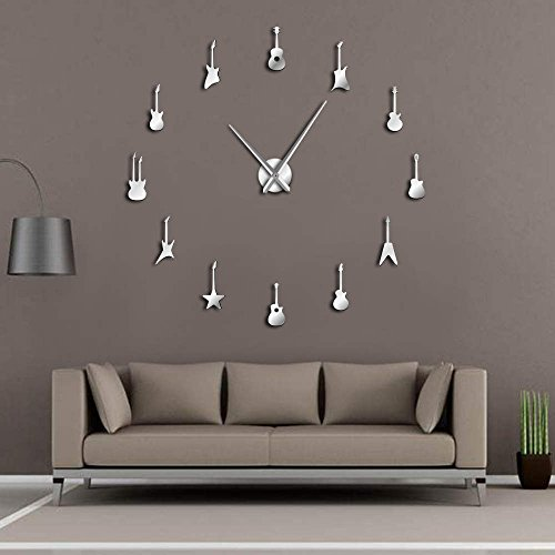 Guitar Variety Music DIY Giant Wall Clock Music Room Decor Frameless Big Needles Large Wall Clock Rock N Roll Guitar Wall Watch Silver 37 Inch