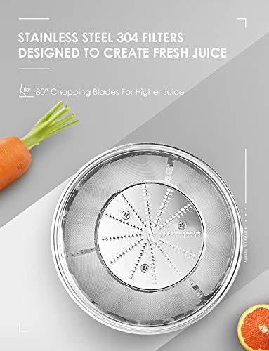 Centrifuga Frutta e Verdura Aicok Estrattore di Succo a Freddo con 65MM Bocca, Piedi Anti-scivolosi e Facile Pulizia… 3