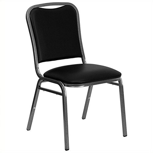 Flash Furniture HERCULES Series Stacking Banquet Chair in Black Vinyl - Silver Vein Frame by Flash Furniture