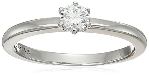 Platinum Plated Sterling Silver Swarovski Zirconia Round Cut Solitaire Ring, Size ()