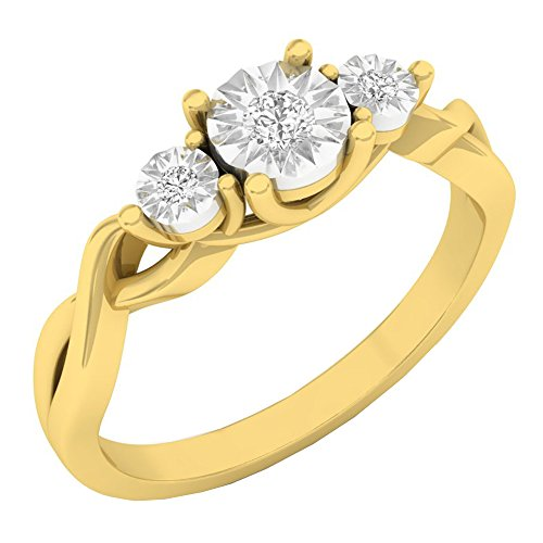 Dazzlingrock Collection 0.10 Carat (ctw) 10K Round Diamond Ladies 3 Stone Engagement Ring 1/10 CT, Yellow Gold, Size 7 ()