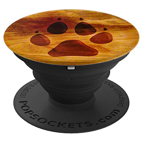 DOG PAW PRINT ON FAUX WEATHERED WOOD GRAIN - PopSockets Grip and Stand for Phones and Tablets