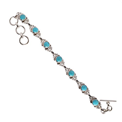 Top Class Arizona Turquoise Gemstone 925 Solid Sterling Silver Bracelet Jewelry For Girls FSJ-939 -