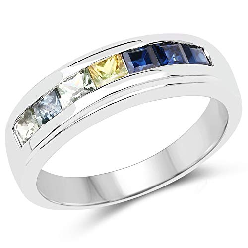 925 Sterling Silver Genuine Multi Sapphire Ring (1.26 Carat) Size 7