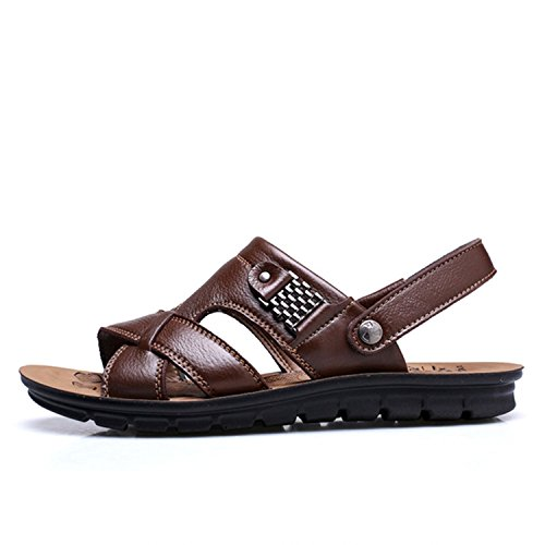 Genuine Leather Men's Sandals Beach Shoes Men Large Size Leisure Sandals Brown Big Size:38-47,Brown,8