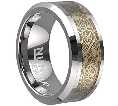 Nuni Jewelry Men Tungsten Carbide Ring Wedding Band 8mm Gold Celtic Dragon Inlay Polish Finish (8)