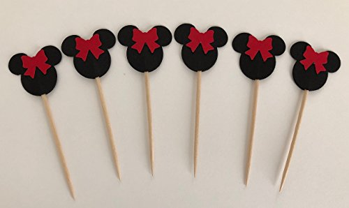 Minnie Mouse Red Bow Double Sided Cupcake Toppers Cake Centerpieces Party Picks Kids Food Decor 1