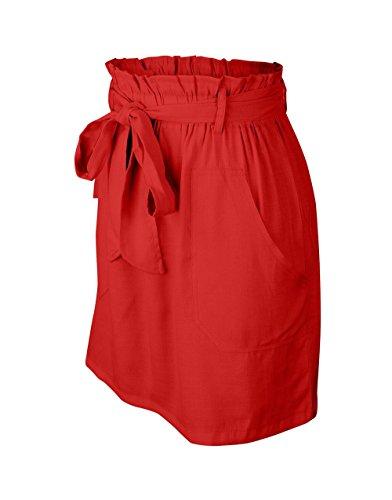 Fashion Soire Unie Court Haute Couleur Jupe avec Jupes Casual t Taille Plage de Bandage Jupe de Fte Rouge Femme PTSxq1z