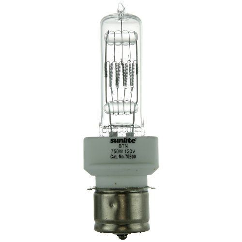 Sunlite BTN 750W/T7/120V/CL/P28s 750-watt 120-volt Medium Pre-focus Based Stage and Studio T7 Bulb, (750w Bulb)