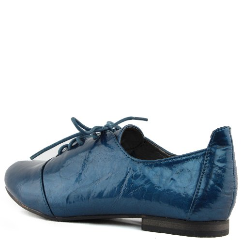 Oxford Shoes Fashion Ballet Sneaker Patent Lace Loafers Up Flat Blue Casual Leather Women's fapwqYn