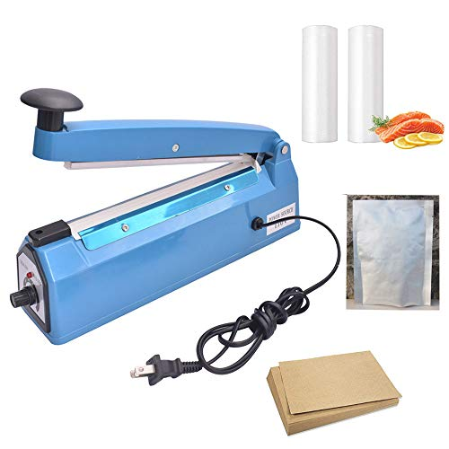 iHotools™ 8''(200mm) Impulse Manual Hand Bag Sealer Heat Sealing Machine for Plastics Bags PE bags with Extra Replacement Element Grip Blue by iHotools