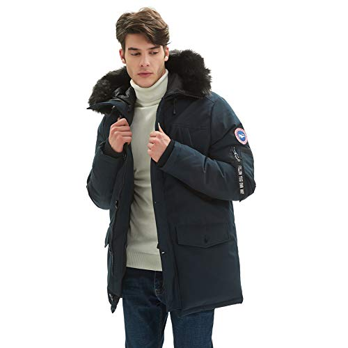 PUREMSX Thicken Coat Mens, Classic Winter Down Alternative Quilted Hooded Insulated Mountain Anorak Outdoor Sports Parka Mens Fur Hood Coats for Men Gifts for Boyfriend,Navy,Small