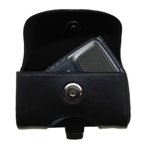 Gomadic Brand Horizontal Black Leather Carrying Case for the Samsung Rugby II III with Integrated Belt Loop and Optional Belt Clip
