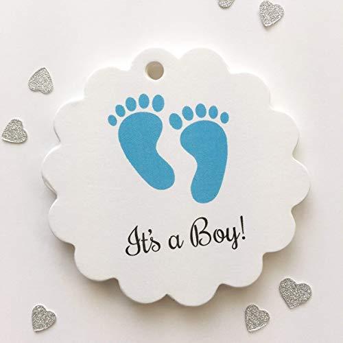 (It's A Boy Baby Feet Shower Favor Tags, Custom Tags (SC-208))