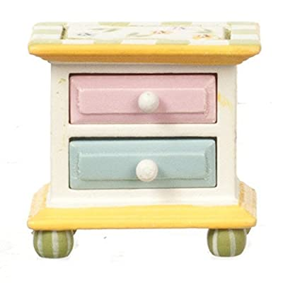 Melody Jane Dollhouse Hand Painted Springtime Bedside Chest Bedroom Furniture