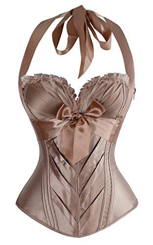 - Charmian Women's Burlesque Vintage Fashion Classic Satin Halter Bustier Corset Top with Zipper Champagne Large