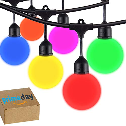 (Areful Globe String Lights, 12FT Patio Lighting Strand with LED G40 Bulbs, Connectable, Remote Control, RGB Color Changing Mood Lighting)