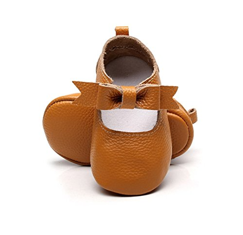 """BebilaBaby Girls Shoes Bowknot Genuine Leather Baby Moccasins Sandals Toddler Princess Mary Jane Party Shoes (US 5/4.72""""/6-12months/see Size Chart, Brown) - Jane Mary Dark Brown"""