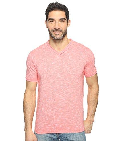 Perry Ellis Men's Texture Slub V-Neck Tee Shirt, Sunkist Coral, Small